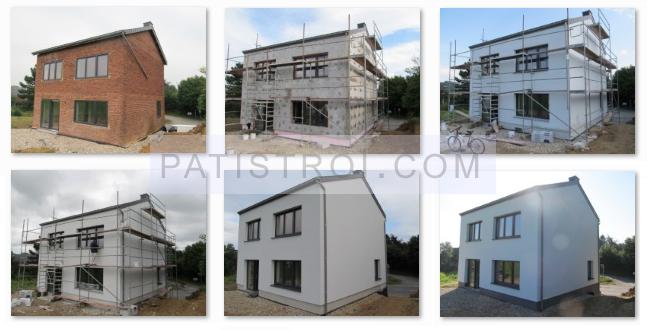 Външна изолация на къща - преди и след - етапи на поставяне на изолацията