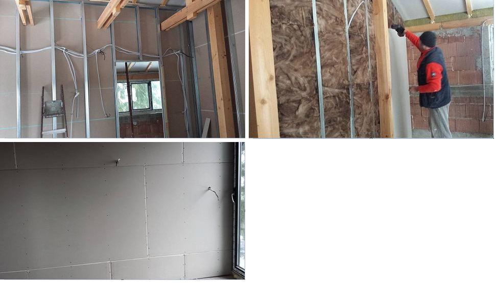 вътрешна изолация, каменна вата, ел инсталация, гипсокартон, колаж